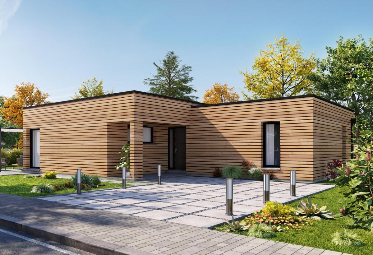 Plan de maison ossature bois plain-pied de 100 m², 4 pièces, 3 chambres, 1 salle de bain.