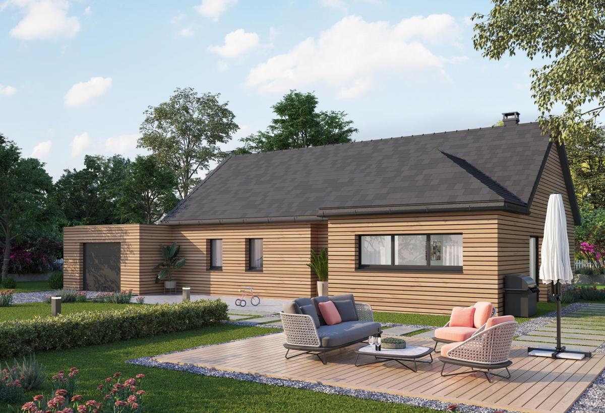 Plan de maison ossature bois plain-pied de 100 m², 5 pièces, 4 chambres, 1 salle de bain, et avec garage.