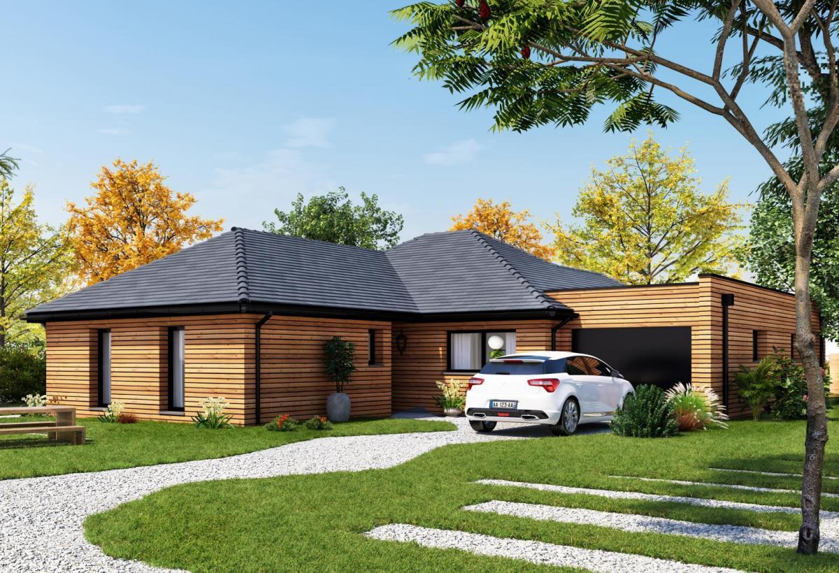 Plan de maison ossature bois plain-pied de 100 m², 6 pièces, 5 chambres, 2 salles de bain, et avec garage.