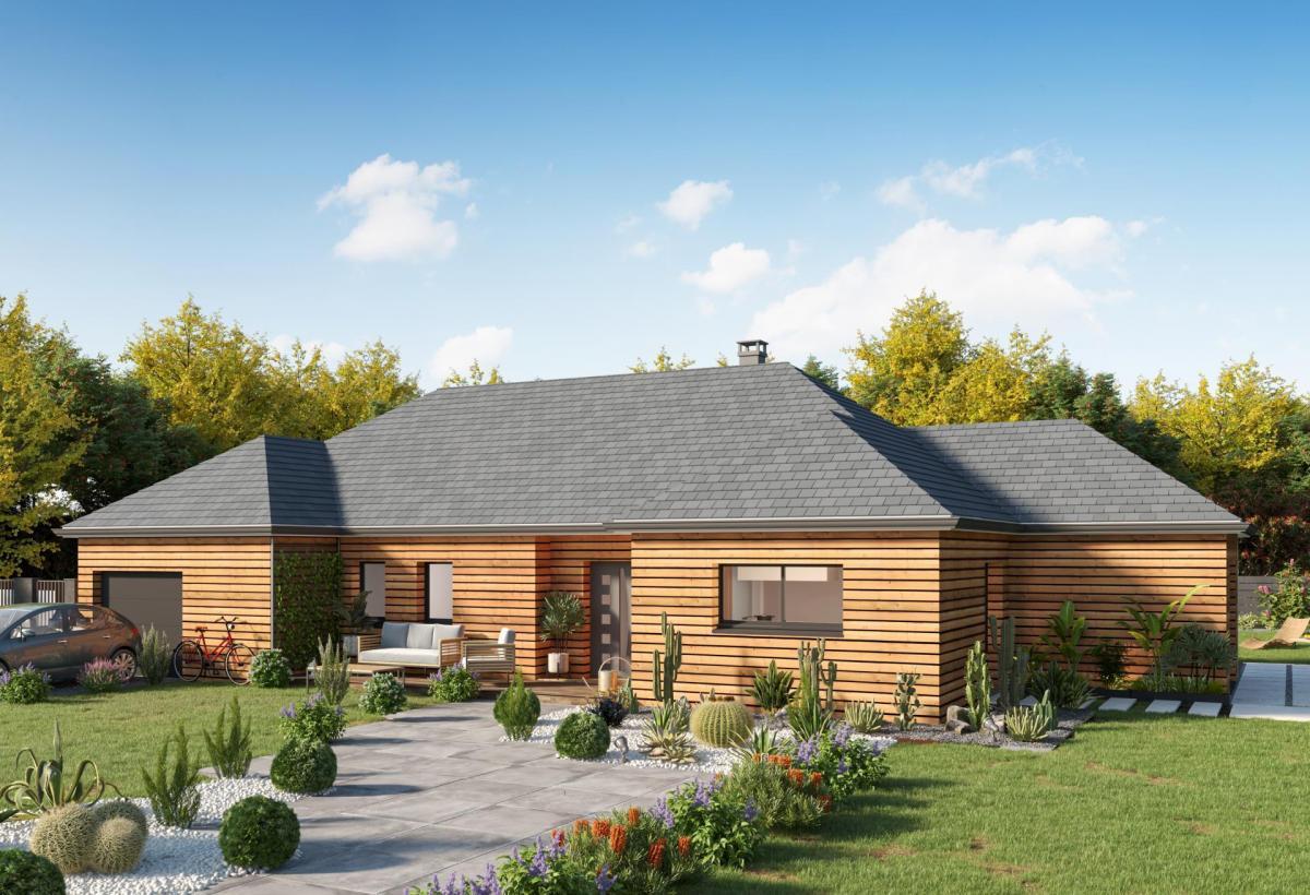 Plan de maison ossature bois plain-pied de 100 m², 6 pièces, 5 chambres, 1 salle de bain, et avec garage.