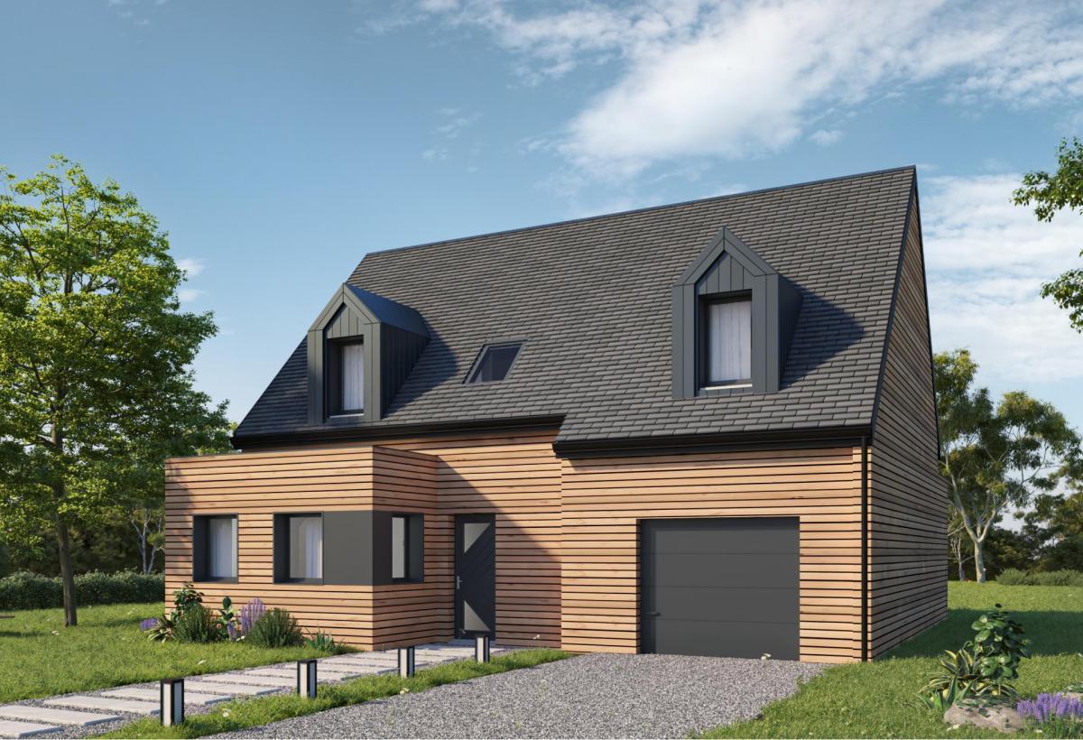Plan de maison ossature bois à étage de 139 m², 4 pièces, 3 chambres, 2 salles de bain, et avec garage.