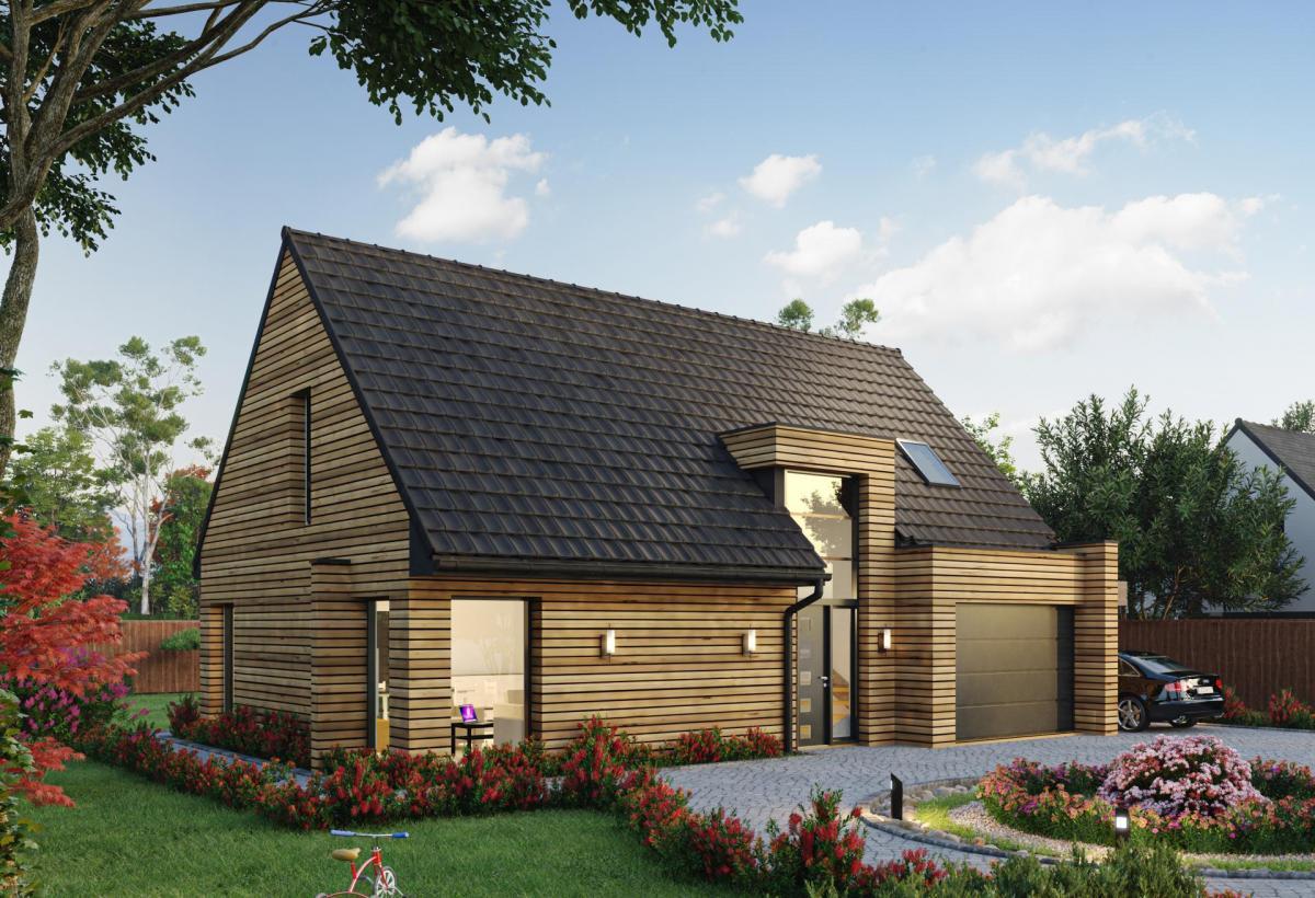 Plan de maison ossature bois à étage de 100 m², 5 pièces, 3 chambres, 1 salle de bain, et avec garage.