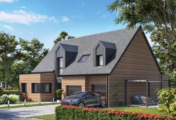 Plan de maison ossature bois à étage de 173 m², 5 pièces, 4 chambres, 2 salles de bain, et avec garage.
