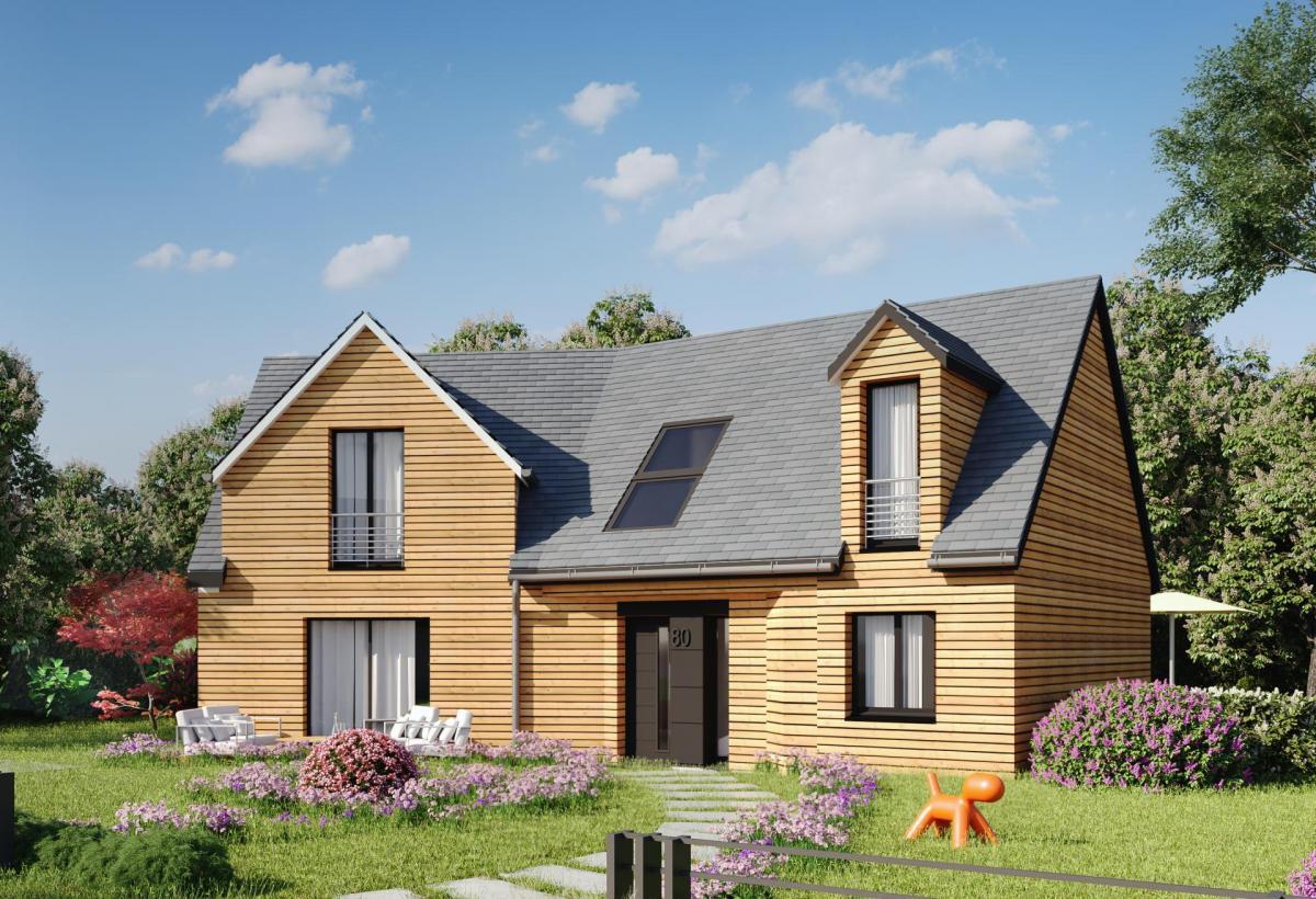 Plan de maison ossature bois à étage de 100 m², 6 pièces, 4 chambres, 3 salles de bain.
