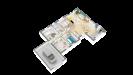 Plan 3D maison bois plain-pied traditionnelle - perspective