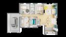 Plan 3D maison bois plain-pied traditionnelle - vue de haut