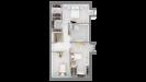 Plan maison bois à étage 4 chambres - étage vue dessus 3d