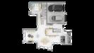 Plan maison bois à étage 4 chambres - rdc vue dessus 3d