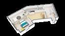Plan maison bois à étage 4 chambres traditionnelle - étage perspective 3d
