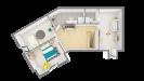 Plan maison bois à étage 4 chambres traditionnelle - étage vue dessus 3d