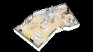 Plan maison bois à étage 4 chambres traditionnelle - rdc perspective 3d