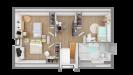 Plan maison bois à étage contemporaine - vue dessus 3d étage