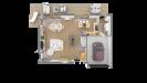 Plan maison bois à étage contemporaine - vue dessus 3d rdc