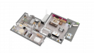Plan maison bois cubique de plain-pied - vue perspective 3D
