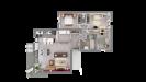 Plan maison cubique ossature bois plain-pied - vue 3D du dessus