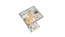 Plan maison ossature bois cubique R+1 contemporaine - étage perspective 3d