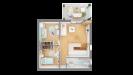 Plan maison ossature bois cubique R+1 contemporaine - étage vue dessus 3d