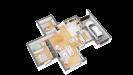 Plan maison ossature bois cubique R+1 contemporaine - rdc perspective 3d
