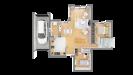 Plan maison ossature bois cubique R+1 contemporaine - rdc vue dessus 3d