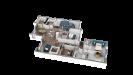 Plan maison ossature bois plain-pied contemporaine - perspective 3D