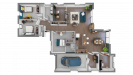 Plan maison ossature bois plain-pied contemporaine - vue 3D du dessus