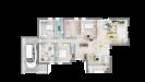 Plan maison ossature bois plain-pied traditionnelle - vue 3d dessus