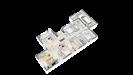 Plan maison ossature bois plain-pied traditionnelle - vue 3d perspective