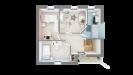 Plan maison ossature bois R+1 4 chambres - étage vue dessus 3D