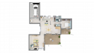 Plan maison ossature bois R+1 4 chambres - rdc vue dessus 3D