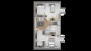 Plans maison ossature bois à étage contemporaine - étage vue 3d dessus