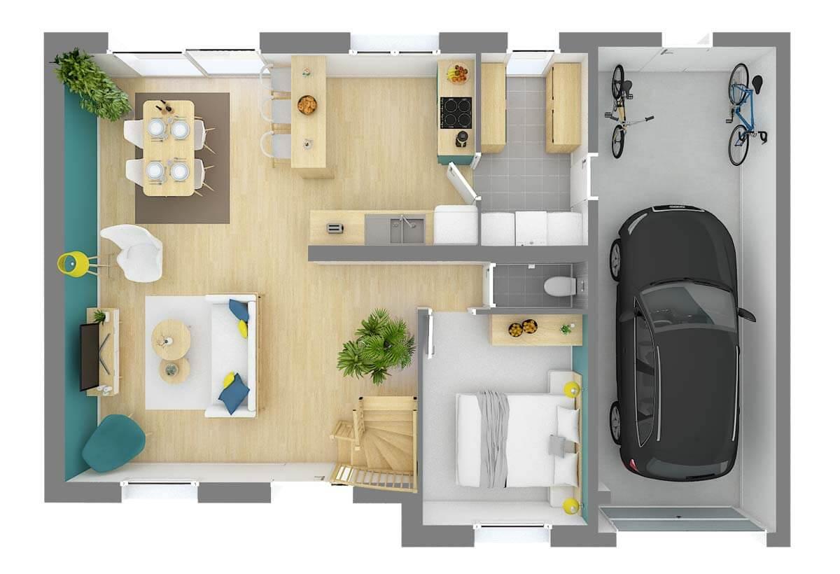 Plan De Maison 3 Chambres Modele Dh 23 Design Habitat
