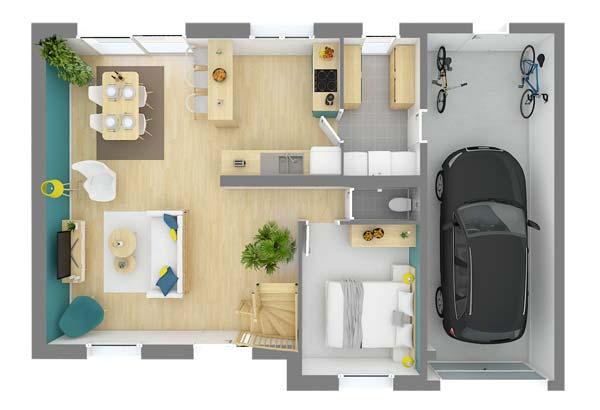 Plan maison 3 chambres DH 23