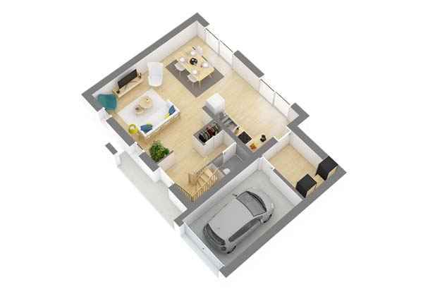 Plan maison 3 chambres DH 27
