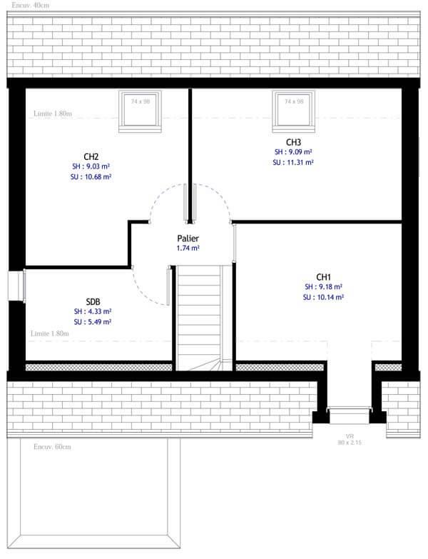 Plan maison 3 chambres DH 40