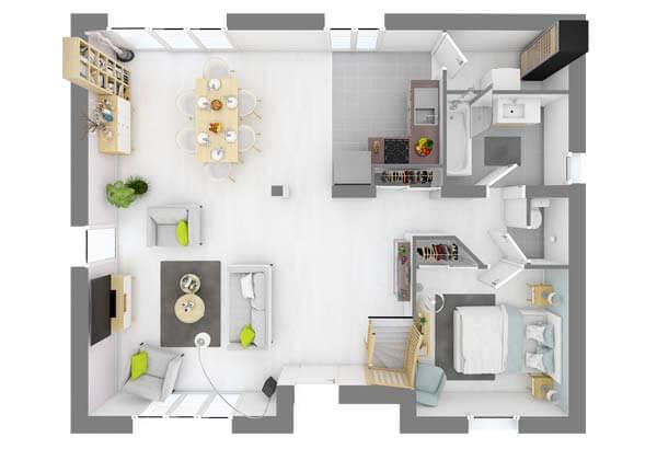 Plan maison 4 chambres DH 46