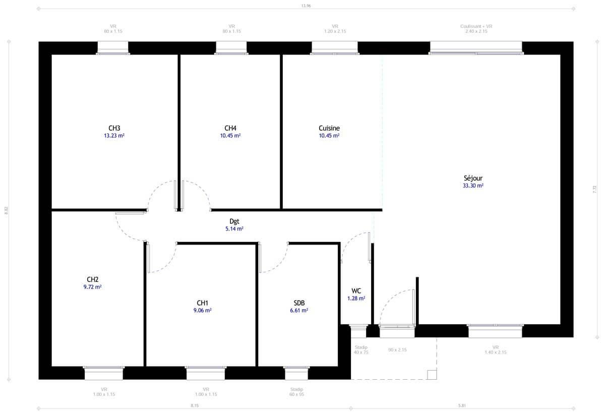 Plan De Maison 4 Chambres Modele Dh 49 Design Habitat