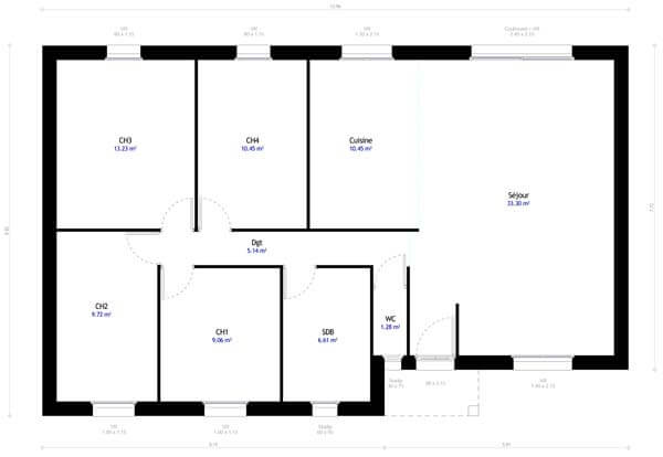 Plan maison 4 chambres DH 49