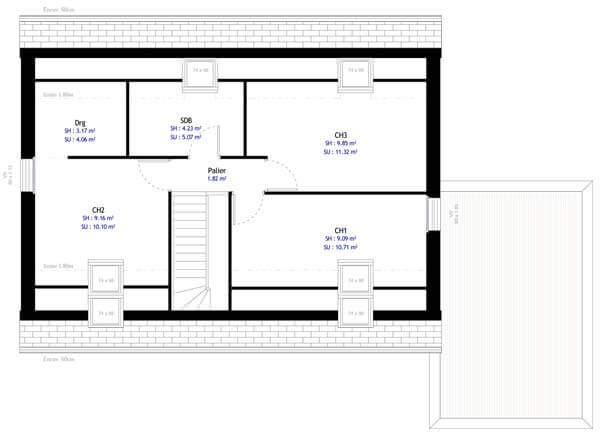 Plan maison 3 chambres DH 61