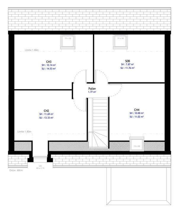 Plan maison 4 chambres DH 70