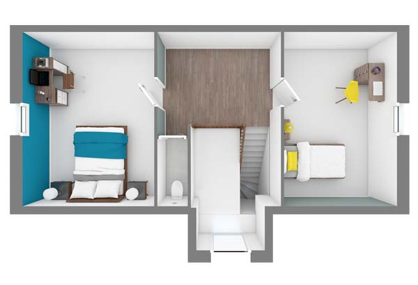 Plan maison 3 chambres DH 74