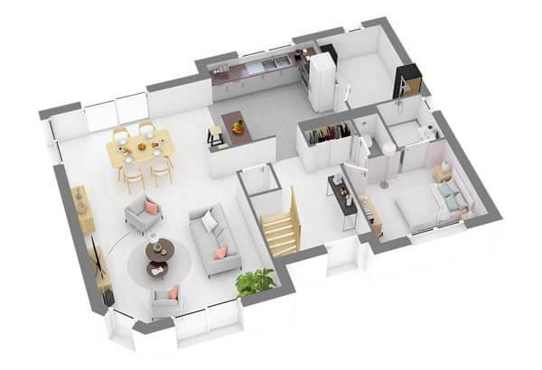 Plan maison 3 chambres DH 74b