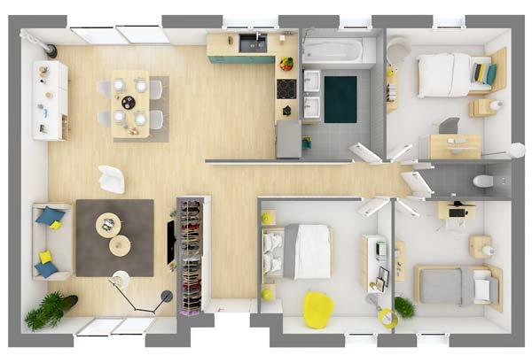 Plan maison 3 chambres DH 77