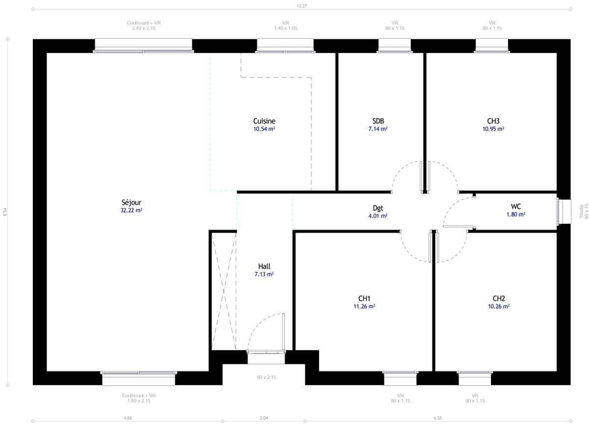Plan De Maison 3 Chambres Modele Dh 77 Design Habitat