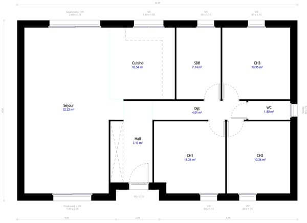 Plan maison 3 chambres DH 77