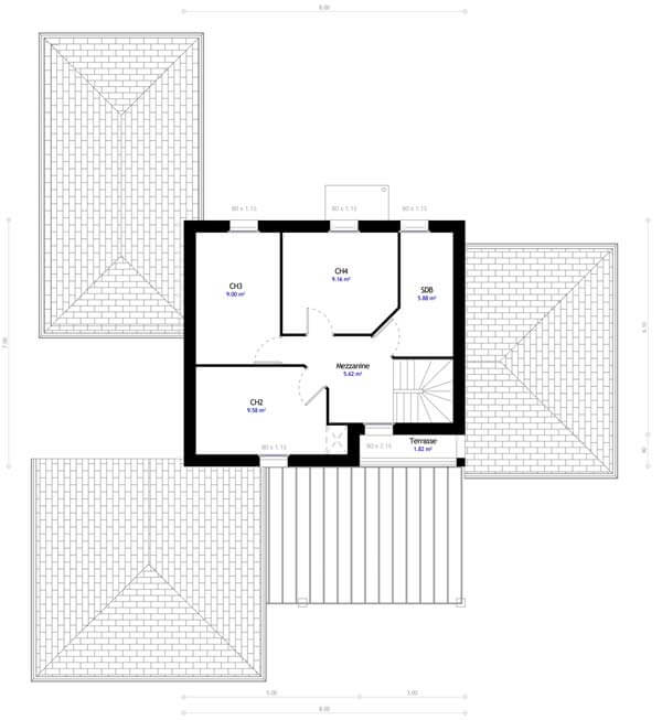 Plan maison 4 chambres DH 81