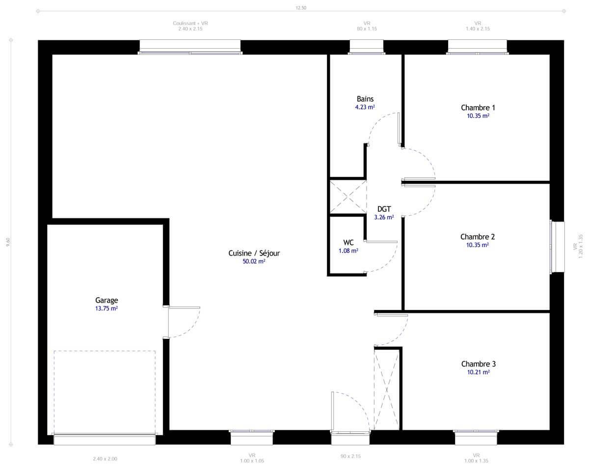 Plan De Maison 3 Chambres Modele Dh 90 Design Habitat