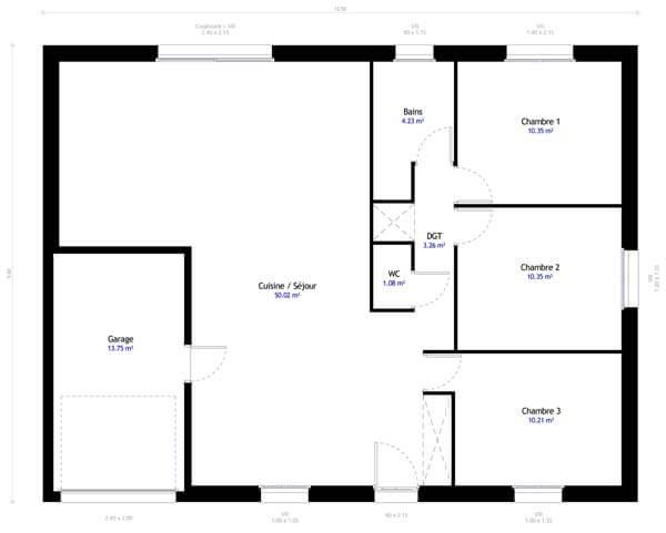 Plan maison 3 chambres DH 90