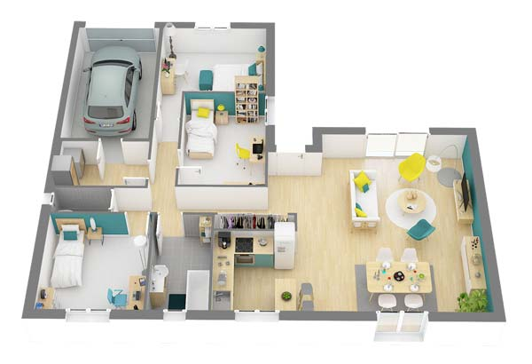 Plan maison 3 chambres DH 94