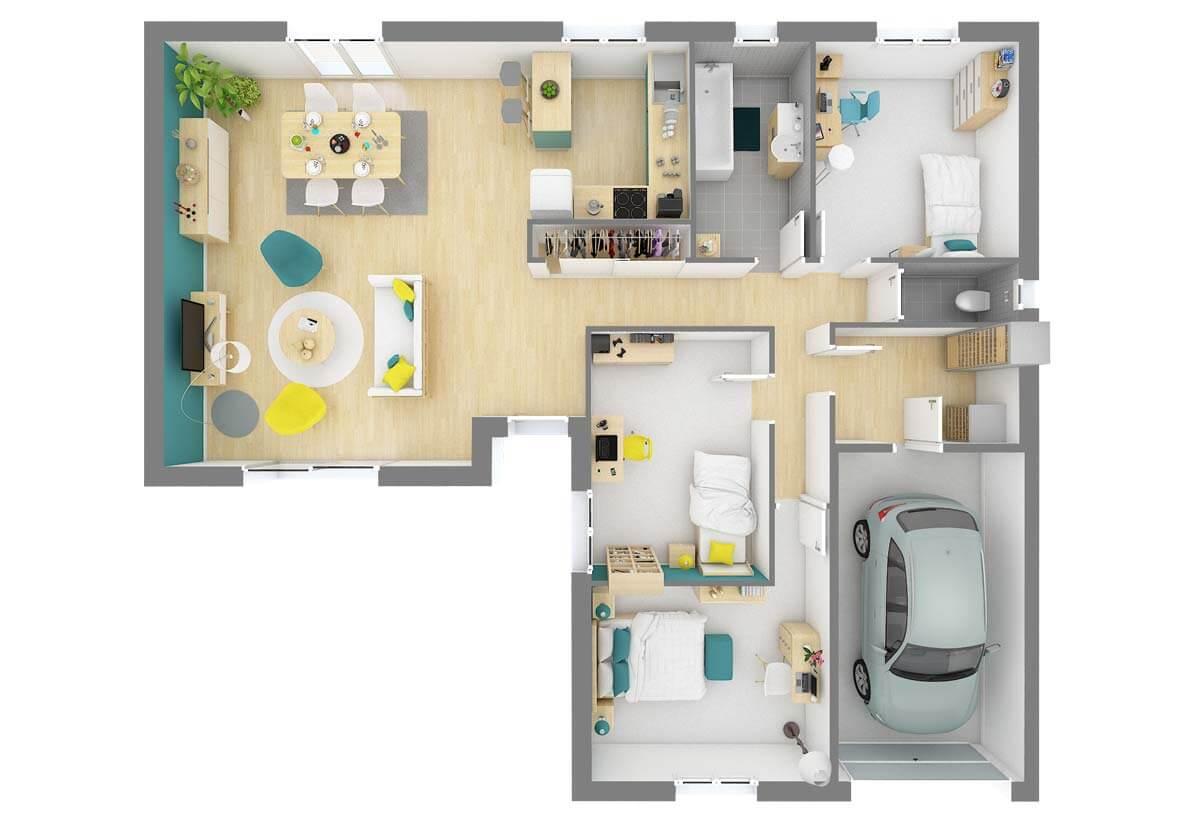 Plan De Maison 3 Chambres Modele Dh 94 Design Habitat