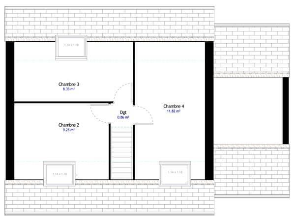 Plan maison 4 chambres DH 98